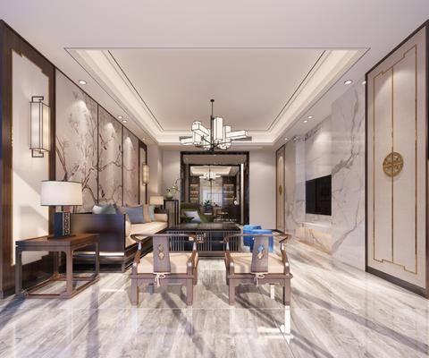 新中式客厅, 新中式餐厅, 沙发组合, 吊灯, 台灯, 壁灯, 餐桌, 椅子