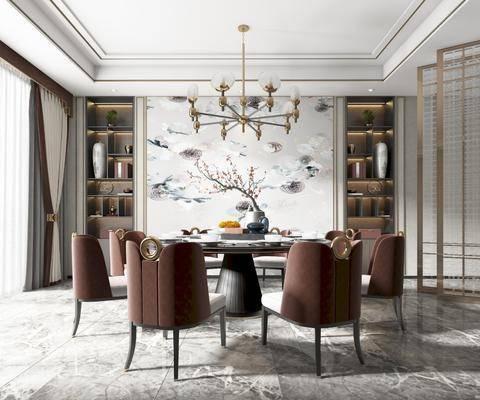 餐桌, 餐椅, 吊灯, 挂画, 边柜, 餐具, 装饰品