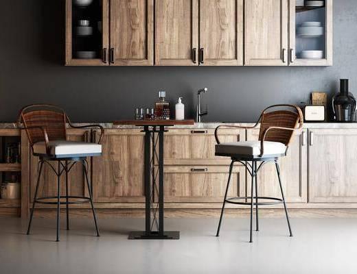 餐桌, 桌椅组合, 吧椅, 单椅, 厨房