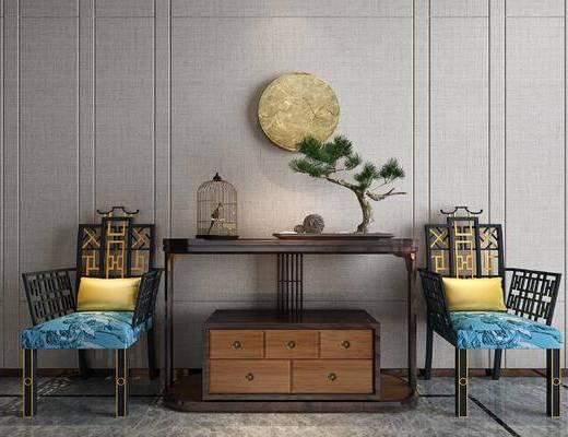 休闲椅组合, 端景台, 摆件组合, 盆景