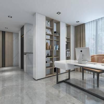 书房, 书桌, 单椅, 椅子, 书架, 置物架, 摆件, 装饰品, 现代
