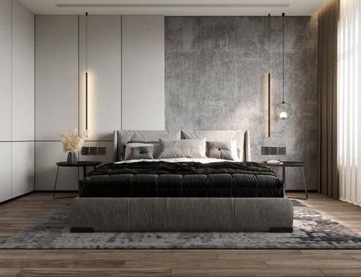 双人床, 吊灯, 桌椅组合, 摆件, 床头柜