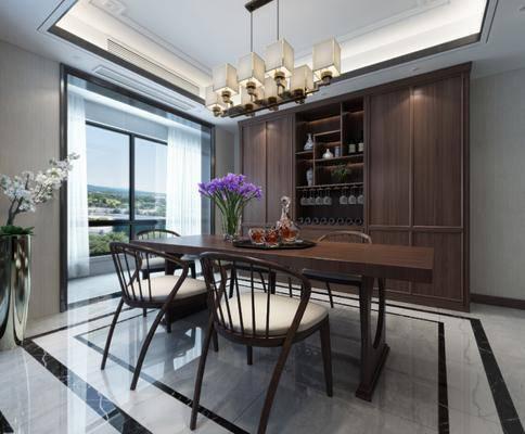 酒柜, 餐桌, 餐椅, 单人椅, 花瓶花卉, 吊灯, 酒瓶, 盆栽, 新中式