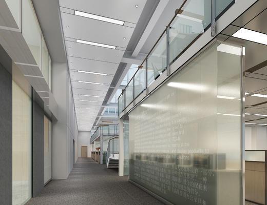 现代, 办公室, 走廊