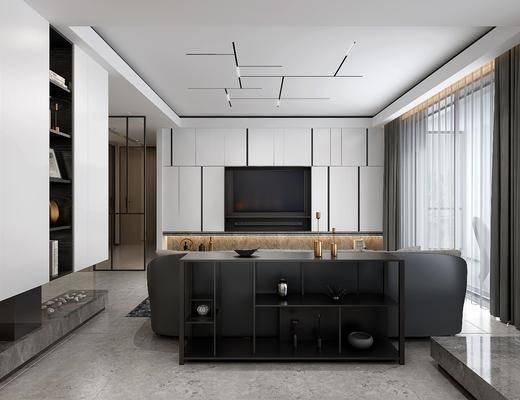 客厅, 餐厅, 多人沙发, 茶几, 餐桌, 餐椅, 单人椅, 吊灯, 橱柜, 厨具, 装饰品, 陈设品, 现代