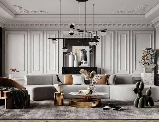 现代, 客厅, 多人沙发, 休闲椅, 边几, 装饰画