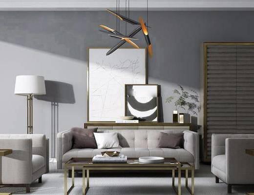 现代港式沙发茶几组合, 金属落地灯, 现代简约装饰画, 现代时尚吊灯