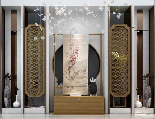 玄关背景墙, 墙面, 屏风, 装饰柜, 吊灯, 装饰品, 陈设品, 摆件, 新中式
