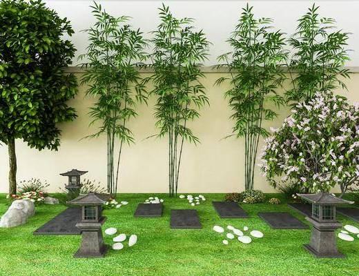 景观小品, 园艺小品, 竹子, 植物, 树木, 中式