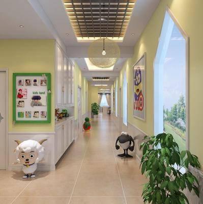 現代, 幼兒園, 走廊過道, 教室