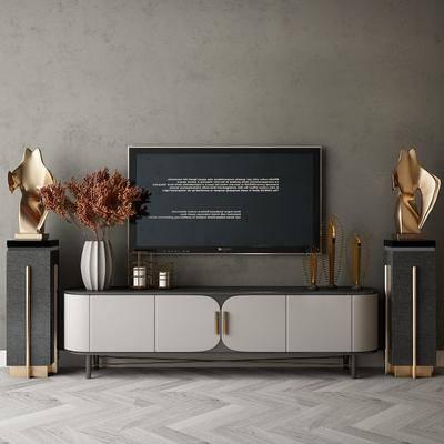 现代边柜, 电视柜, 摆件
