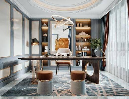 书桌, 桌椅组合, 吊灯, 摆件组合, 植物, 落地灯, 装饰画