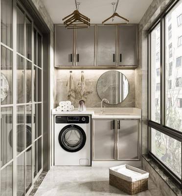 阳台, 露台, 洗衣机, 镜子, 浴柜