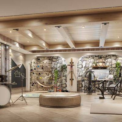 工业风健身娱乐室, 工业风, 乐器, 健身设备, 植物
