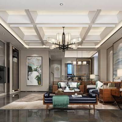 新中式客厅, 客厅, 新中式, 中式沙发组合, 中式吊灯