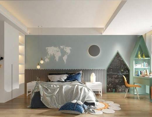 北欧儿童房, 儿童房, 双人床