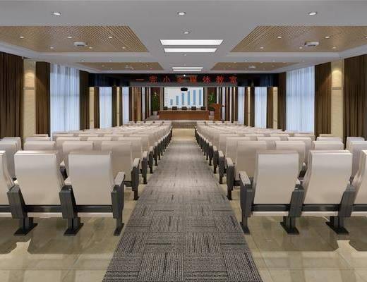 多媒体, 会议室, 大厅, 单人椅, 盆栽, 绿植植物, 前台, 投影仪, 现代