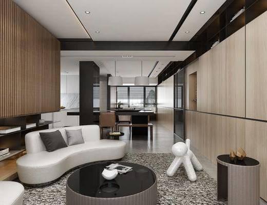 客厅, 餐厅, 多人沙发, 异形沙发, 茶几, 餐桌, 餐椅, 单人椅, 吊灯, 现代