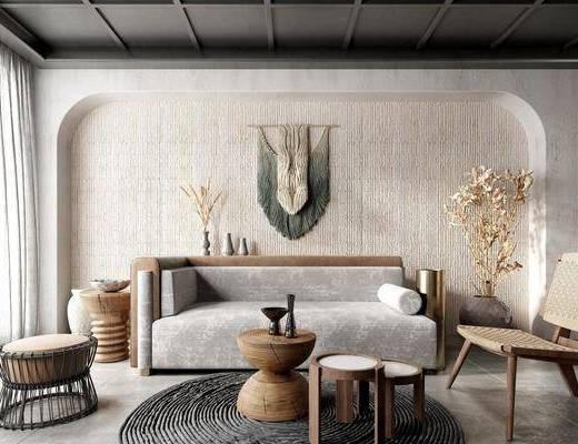 北欧客厅, 多人沙发, 边几, 挂饰, 矮凳