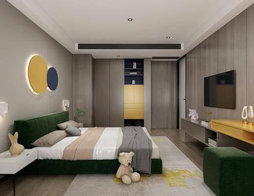 儿童房, 卧室, 玩具, 床头柜, 墙饰, 电视柜, 装饰柜, 脚踏沙发, 衣柜, 摆件, 装饰品, 陈设品, 现代