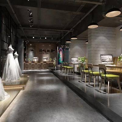 工业风婚纱店, 工业风, 婚纱, 婚纱店, 休闲桌椅, 椅子, 工业风吊灯