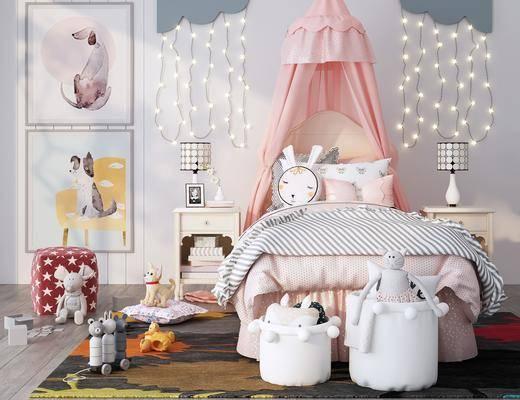 臺燈, 帷幔, 裝飾畫, 玩具, 臥室, 單人床