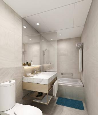 卫生间, 酒店客房, 洗手台, 装饰镜, 浴缸, 马桶, 现代