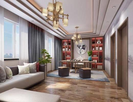 新中式, 轻奢, 茶室, 场景