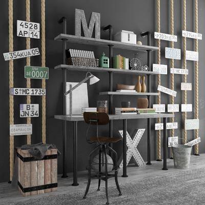 装饰架, 书桌, 单人椅, 台灯, 置物架, 摆件, 装饰品, 陈设品, 工业风