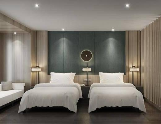 新中式卧室, 双人沙发, 壁灯, 双人床, 新中式
