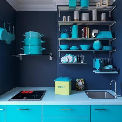 厨柜, 厨具, 餐具, 器皿, 瓷器, 碗碟, 洗手盆, 吧椅, 冰箱, 美式, 现代