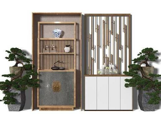 玄关柜, 玄关鞋柜, 隔断柜, 隔断, 盆景, 植物, 现代风格, 中式风格
