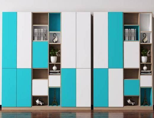 书柜, 装饰柜, 书架, 陈列柜, 装饰品, 陈设品, 书籍, 北欧