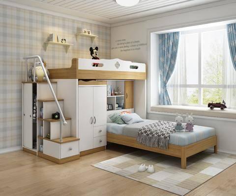 单人床, 上下铺, 衣柜, 窗帘
