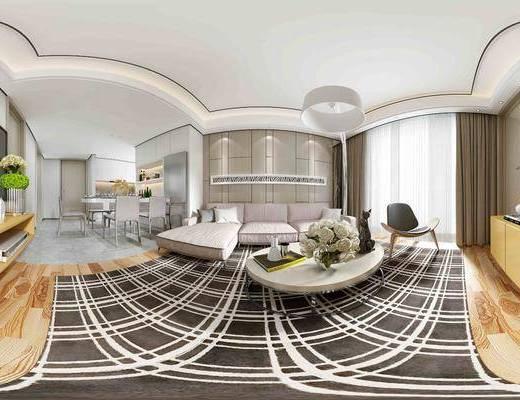 现代客餐厅全景, 多人沙发, L型沙发, 茶几, 装饰品, 餐桌椅组合