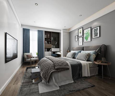 北欧卧室, 北欧床具, 沙发茶几, 书柜, 床头柜, 挂画, 装饰画