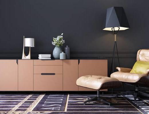 现代, 休闲椅, 脚榻, 落地灯, 装饰柜, 边柜, 摆件, 花瓶, 装饰品
