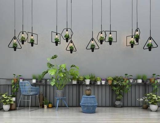 阳台栏杆, 植物花瓶, 花卉绿植, 盆栽吊篮, 桌椅组合, 花盆吊灯, 单人椅, 吊灯, 现代