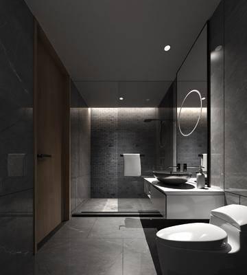 衛生間, 洗手臺, 花灑, 馬桶, 新中式