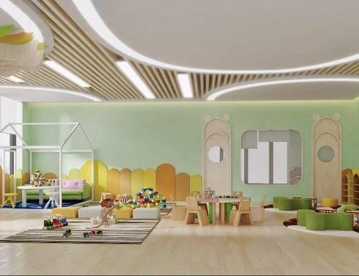 现代幼儿园, 幼儿园, 玩具, 书柜, 鞋柜, 桌椅组合, 多人沙发