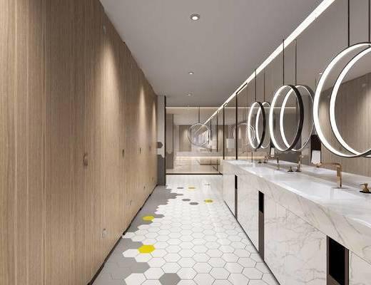 卫生间, 现代卫生间, 洗手台, 镜子, 马桶