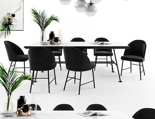 桌椅组合, 桌子, 椅子, 单椅, 吊灯, 陈设品
