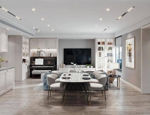餐厅, 餐桌, 桌椅组合, 餐具组合, 挂画, 电视