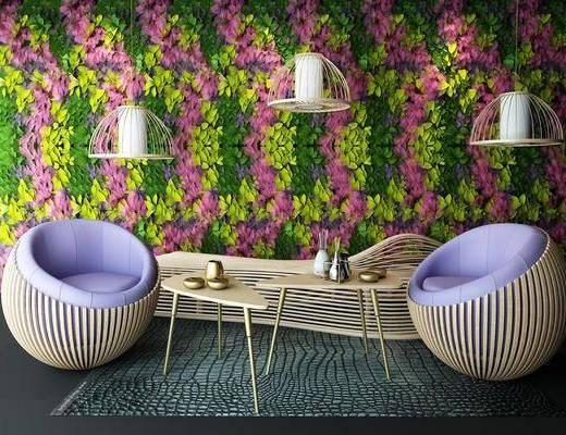 绿植, 植物, 单椅, 吊灯, 藤椅