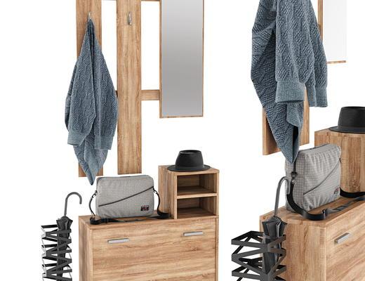 现代实木, 鞋柜, 雨架, 服饰, 衣帽架, 衣架
