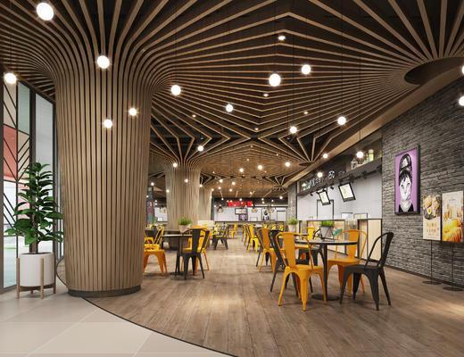 餐厅, 工业风, 现代, 现代餐厅, 餐桌椅, 桌椅组合