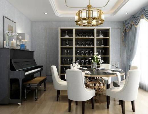 桌椅组合, 餐桌, 餐椅, 单人椅, 圆桌, 吊灯, 餐具, 钢琴, 酒柜, 酒瓶, 台灯, 装饰品, 陈设品, 摆件, 后现代