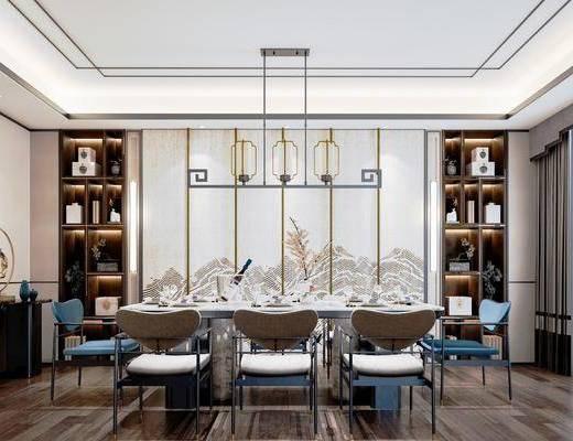 背景墙, 桌椅组合, 吊灯, 边柜, 摆件组合