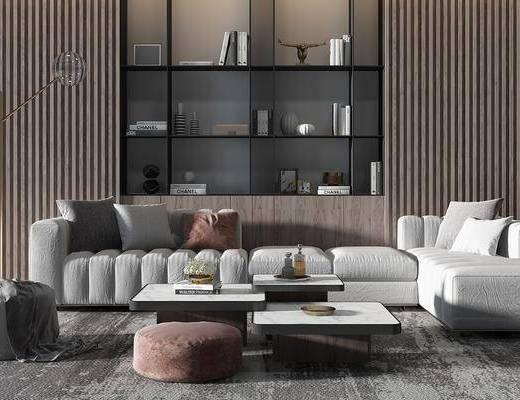 沙发组合, 茶几, 摆件组合, 单椅, 置物柜