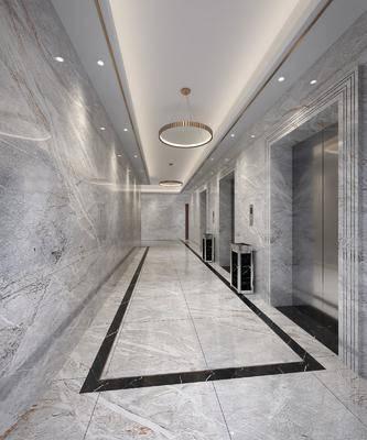 电梯厅, 过道, 垃圾桶, 吊灯, 现代